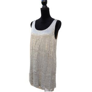 MLV Silver Gray Beaded Metallic Mini Shift Dress